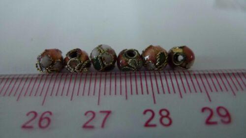 Enamel Necklace Spacer Decoration Charm 6mm 20pcs Metal beads Cloisonne Beads