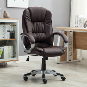 Details About High Brown Pu Leather Executive Office Desk Task Computer Boss Luxury Chair New