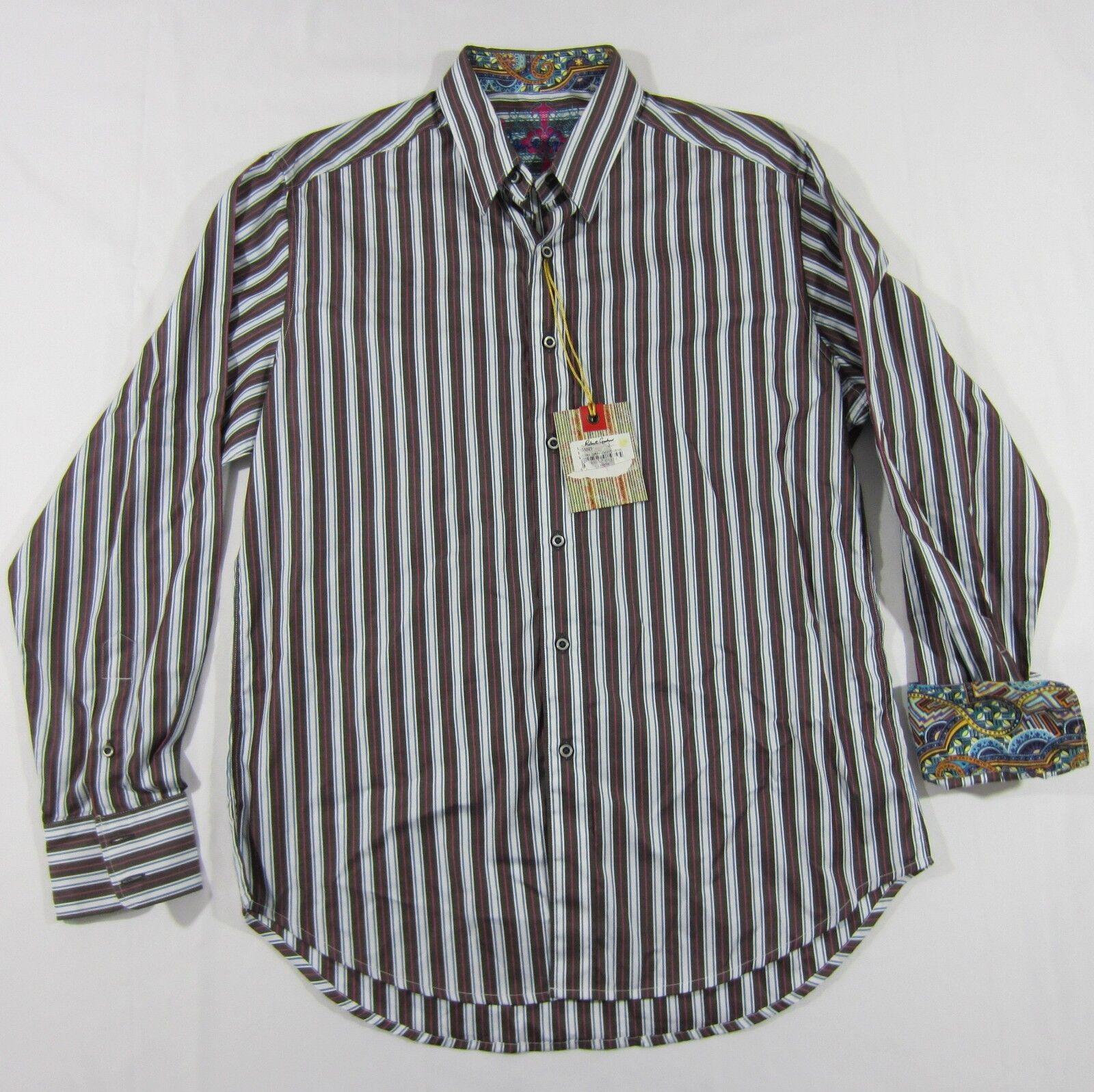 ROBERT GRAHAM Men's Multicolord Striped Button Up Dress Shirt Sz M NWT