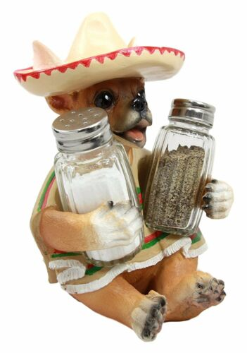 """South of the Border Chihuahua Glass Salt and Pepper Shaker Set Figurine 7/"""" Tall"""