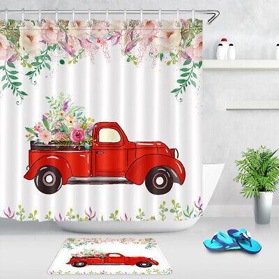 Farm Truck Animal Cow Polyester Fabric Shower Curtain Set Bathroom Decor Hooks
