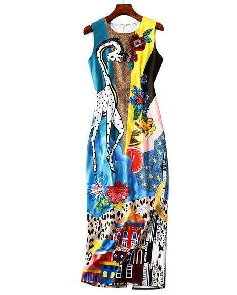 Ladies Floral Animal Print Sleeveless Occident Boho Holiday Holiday Holiday Slim Fit Zip dresses a18a7f