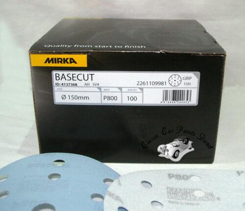 "Mirka Basecut Velcro 150mm 15 Hole Sanding Disc  6/""  P40 etc Hutchins Compatible"