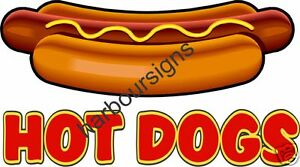 """Hot Dogs Concession Decal 12"""" Food Restaurant Menu"""