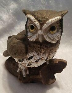 Vintage Horned Owl Ceramic Homco Home Interior Figurine Statue on Tree Stump