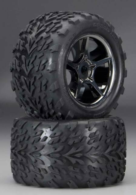 Traxxas 5374X Gemini Black Chrome Wheels w/Talon Tires 17mm - Revo E-Revo E-Maxx