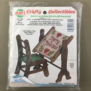 Merry-Christmas-cross-stitch-dollhouse-1-12-miniature-kit-chair-scroll-stand-new