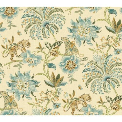 Wallpaper Designer Global Light Blue Aqua Green Beige Floral Cheetahs and Tigers