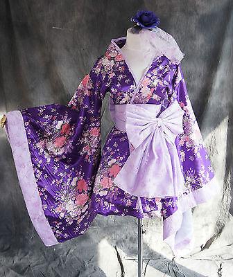 h-531 S/M/L/XL/XXL Japan Kimono Lila Blumen Wa-Qi Cosplay Kostüm Set costume