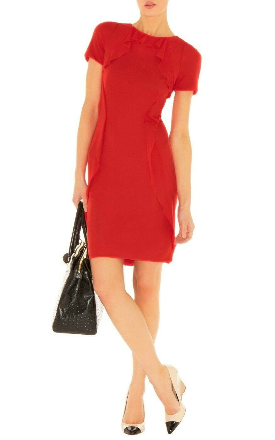 STUNNING KAREN MILLEN rot JERSEY FRILL PENCIL WIGGLE DRESS