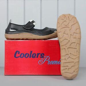 Ladies Real Leather Coolers Premier Summer Sandals Shoes Black 3-7