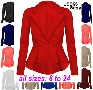 Womens Ladies Crop Frill Shift Big Plus Size Peplum Blazer Jacket ...