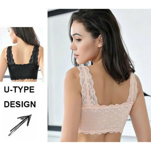 Women/'s Adjustable Front Closure Extra-Elastic Large Wire-Free Sleep Lace Bra UK