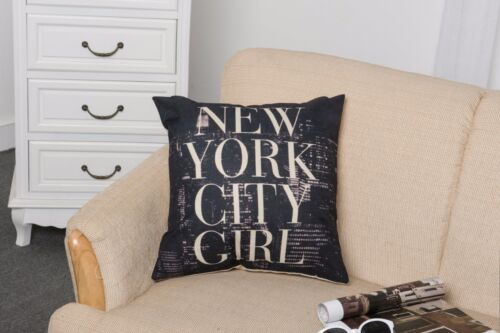 Cotton Linen Taie d/'oreiller Housse de Coussin Maison Sofa pillowslip New York ciyt Girl