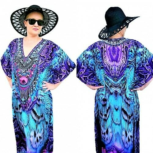 Purple Maxi Embellished Kaftan Dress Plus Size Exotic Evening Long Kaftan XL 5XL