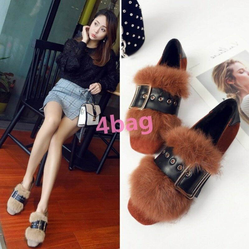Fur Lining Flat Heel Loafers Buckle Strap Slip On Ladies Winter shoes Slippers