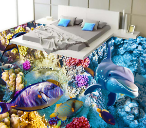 3D Amiable Dolphin 836  Floor Wall Paper Murals Wall Print AJ WALLPAPER UK Lemon