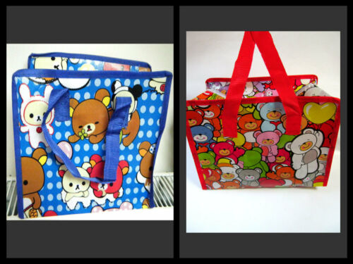 CUTE ECO FRIENDLY RED BLUE TEDDY BEAR ANIMATED CARTOON LUNCH SHOPPING TRAVEL BAG
