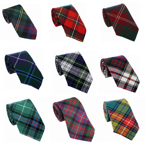 New Scottish Made 100% Wool UK- Various Colours- Tartan Neck tie Ties For Kilts
