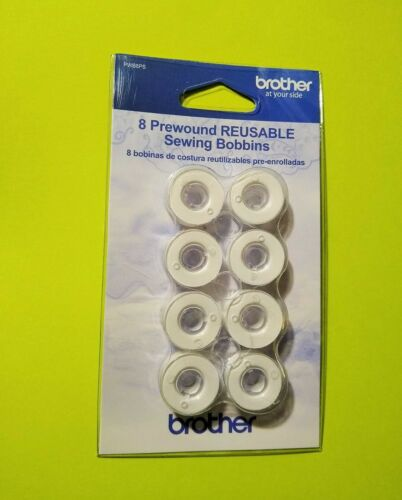 Filled with White Thread Brother Pack of 8 Class 15 Reusable Plastic Bobbins