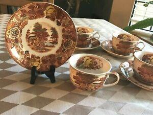 Nasco-China-Mountain-Wood-land-Japan-Set-4-Tea-Cups-amp-Saucers-Vintage