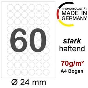Etiketten RUND Ø 24 mm 6000 runde Markierungspunkte Haftpunkte auf DIN A4 Blatt