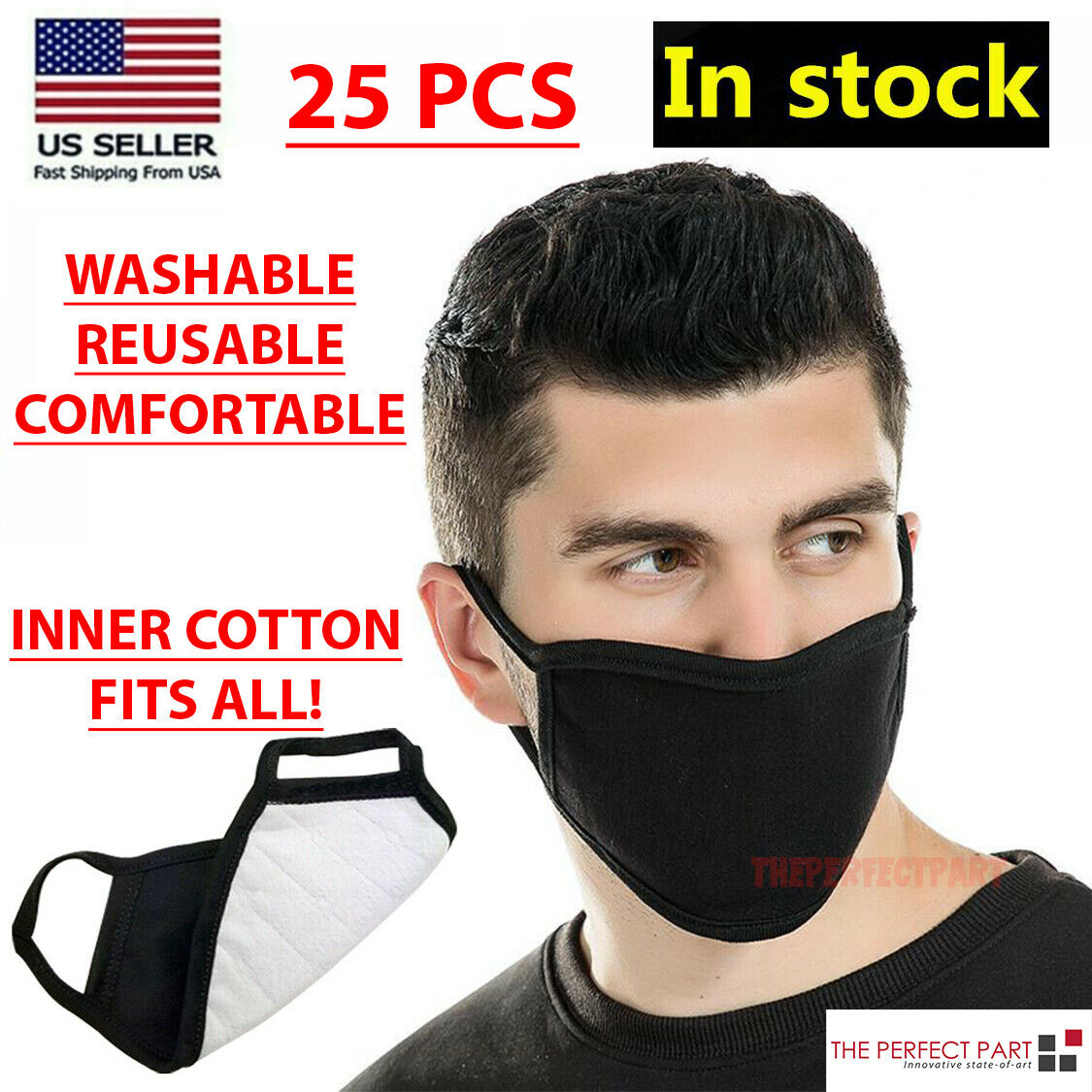 Face Mask Cotton Jersey Fabric Cover Washable Reusable Unisex Made in USA