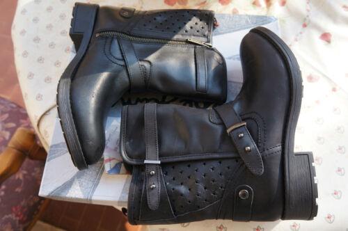 Pepe Jeans London PIMLICO PERFORATIONS, Damen Bikerstiefel, schwarz 38 EU -10 €.