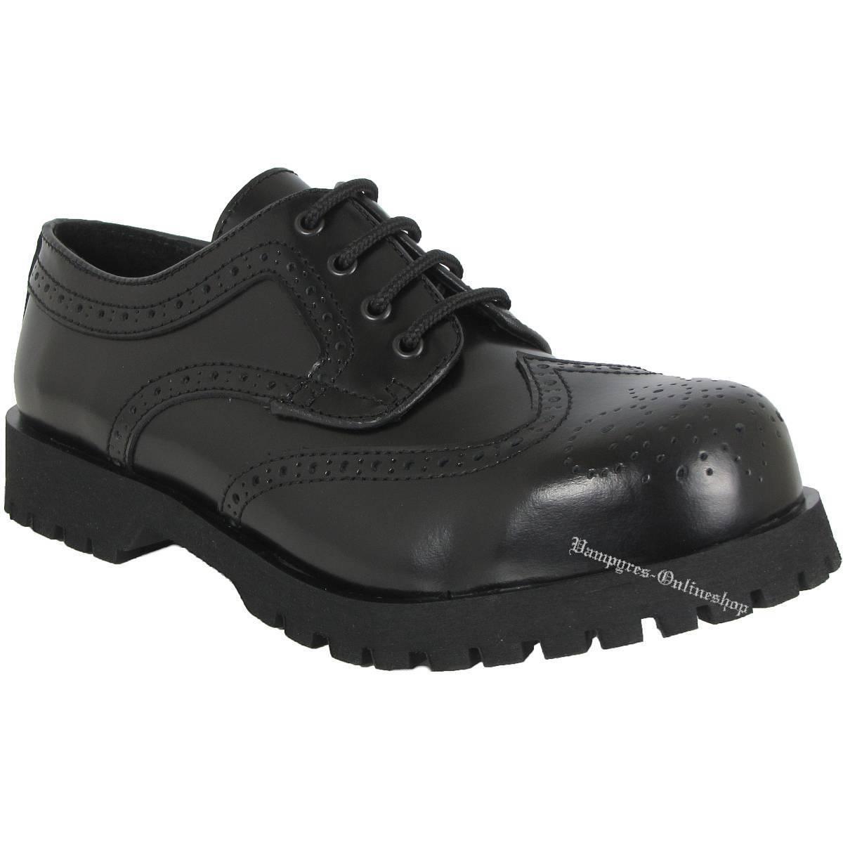 Boots & Braces Schuhe 4-Loch Budapester Schwarz Leder Rangers Stahlkappen Black