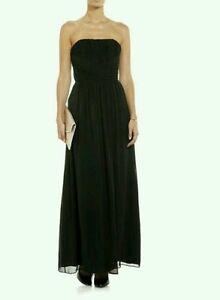 Ted Baker Black Silk Ateka Pleated Empire Waist Maxi Dress Gown Sz