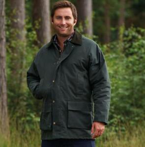 Mens Padded Wax Jacket British Waxed Coat Waxed Cotton Warm Country HOWICK S-3XL