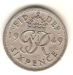 UK Sixpence Wedding Birthday Great Britain 1959