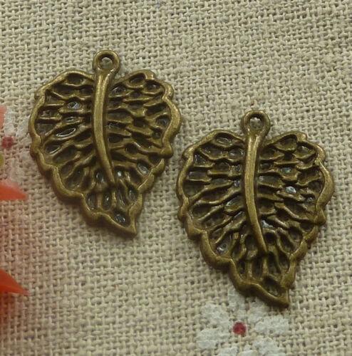 free ship 180 pcs Antique bronze leaves charms 25x18mm #2257