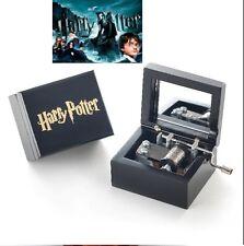 Artisanal Wood Black Hand Crank Music Box: Harry Potter Hedwigs Theme