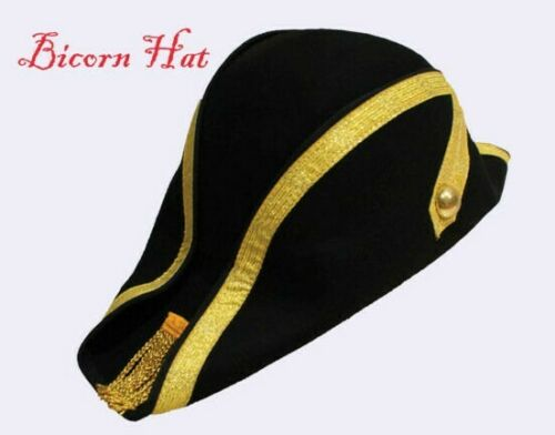 Da Uomo Pirata Bicorno Cappello Nero 100/% LANA FATTO A MANO Militare Marinaio-ihats LONDON UK