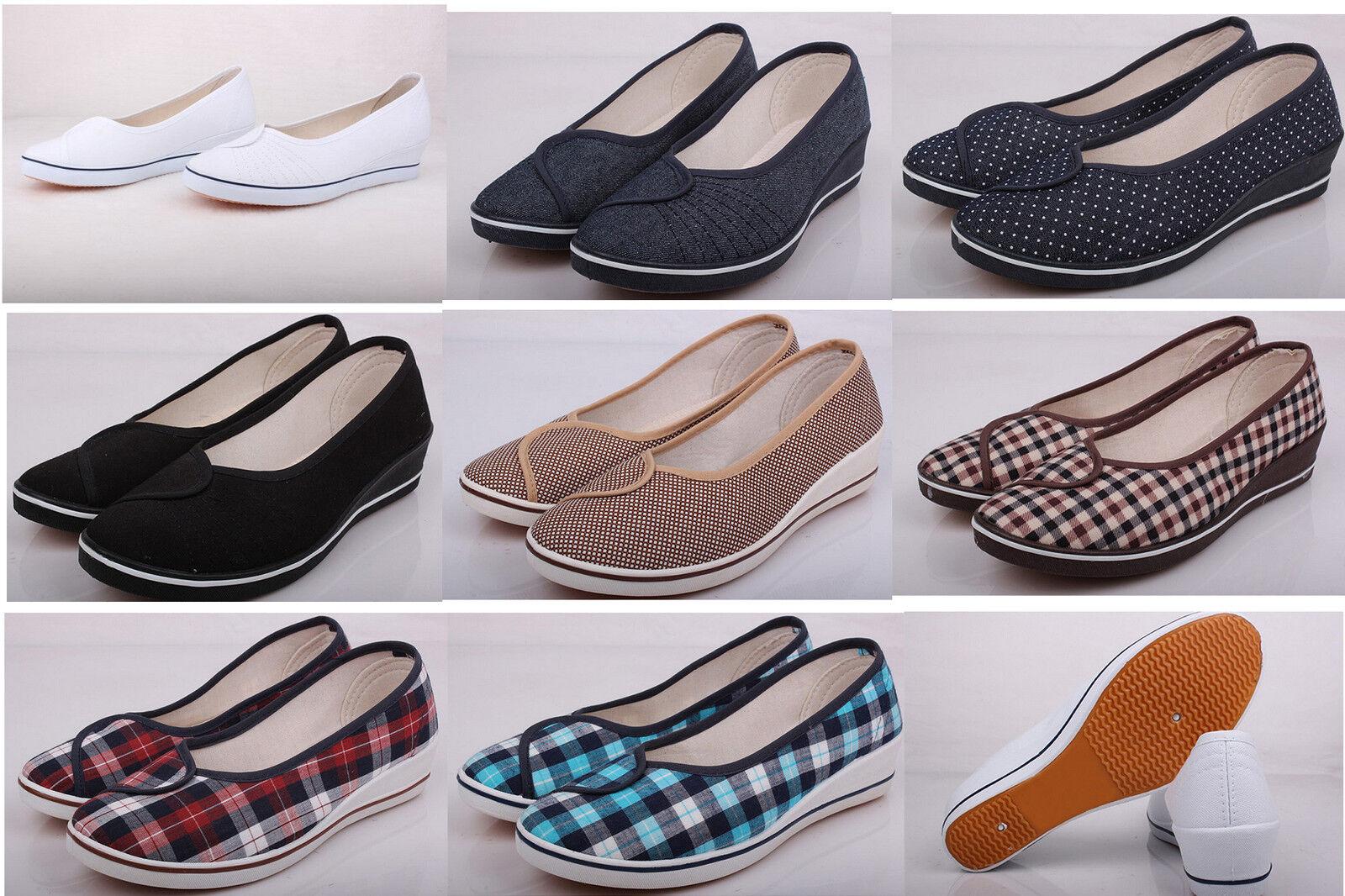 Fulinken Women's canvas slip on loafers ballet flats wedges shoes ladies heels