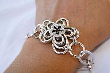 New Brighton Infinity Flower Silver & Crysta Flower Altered  Bracelet