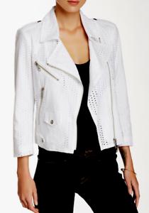 Rebecca Minkoff Wes Moto Eyelet Jacket White NWT $298