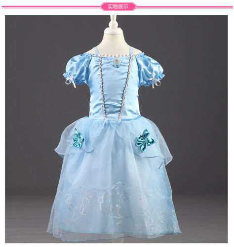 Hot Sandy Princess Cinderella Cosplay Costume Kids Girls Party Fancy Dress.Gown