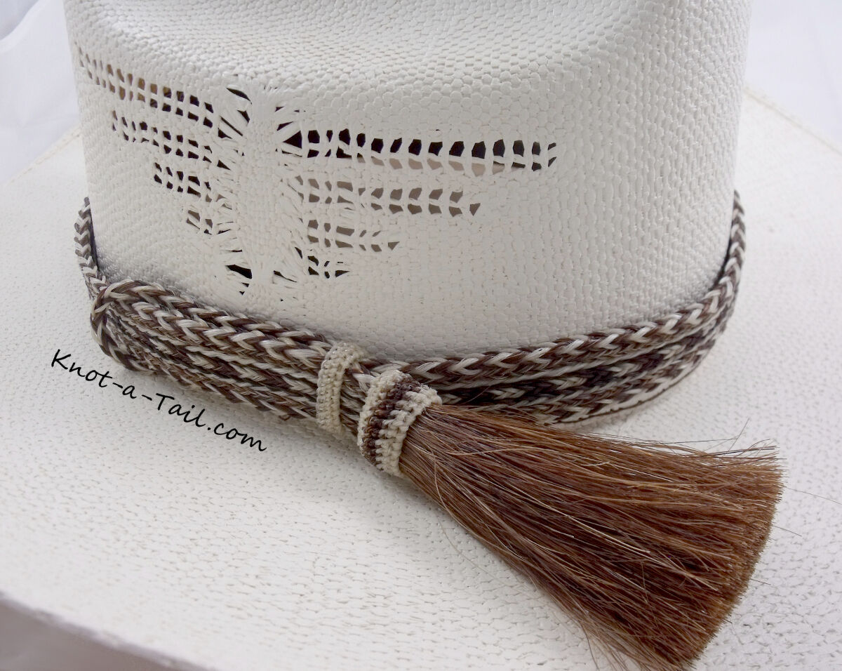 Horsehair hat band WIDE 1  7 strand large side tassel horsehair hat hand Brown