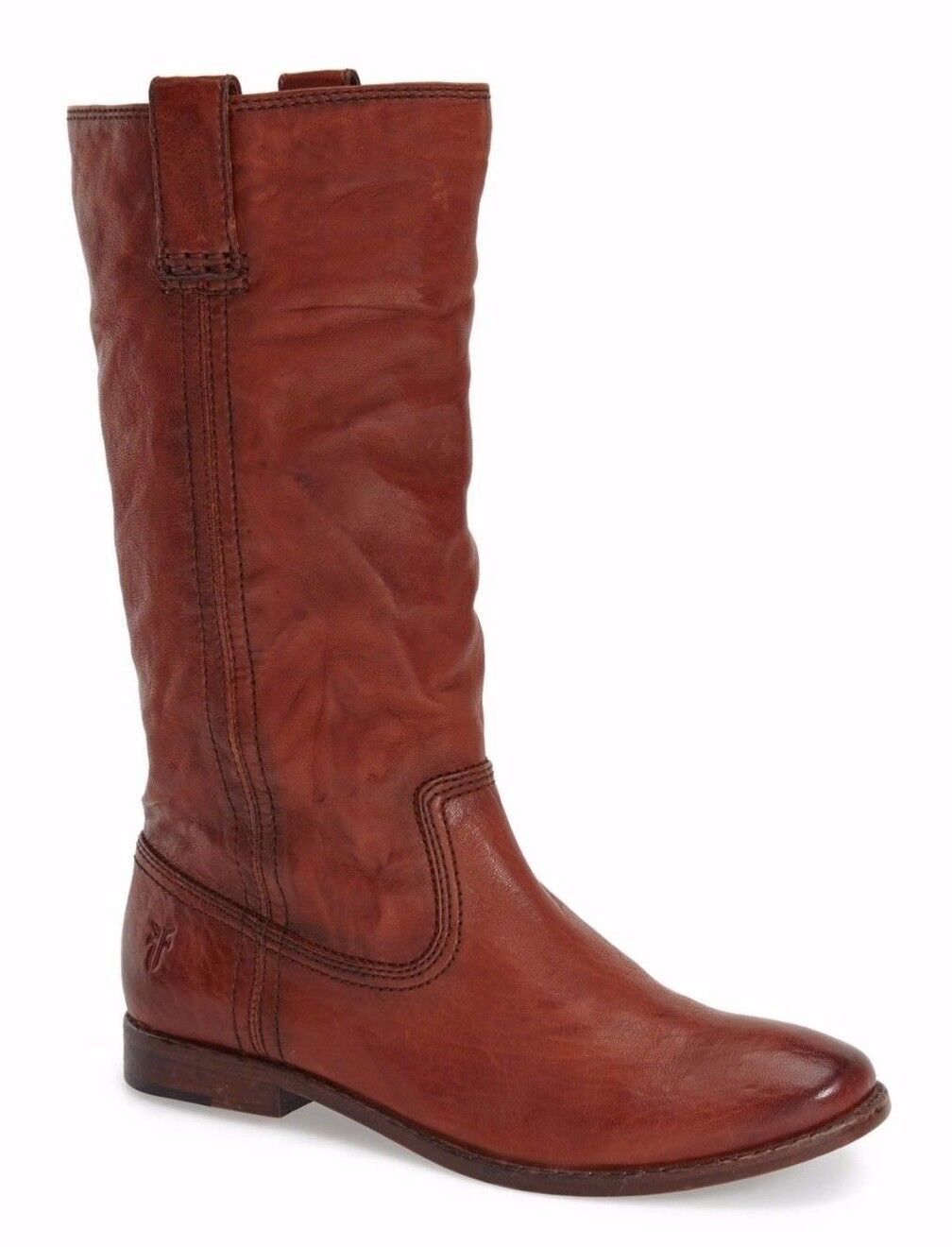 348 Frye Anna Mid Women's Boot Leather Pull On-ASV Slouch Cognac Brown Size 9