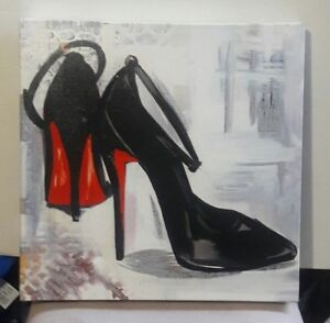 RED-BOTTOM-BLACK-ANKLE-STRAP-PUMPS-CANVAS-PICTURE-16-X-16-INCHES