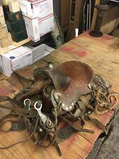 """Vintage 15"""" Studded Leather Pony Saddle W/ Bridle"""
