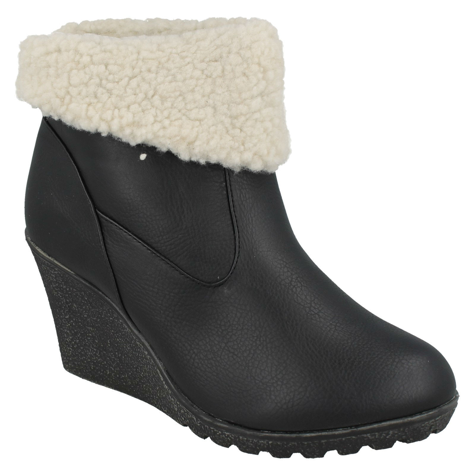 SPOT ON LADIES FLEECE LINED WARM PULL ON MID WEDGE CASUAL ANKLE BOOTS F5748