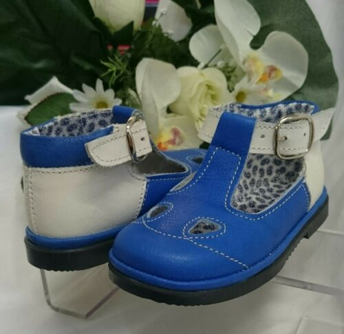 BABY Jungen Kinder Schuhe SANDALEN MADE IN ITALY Gr 19 Royalblau Weiß LEDER