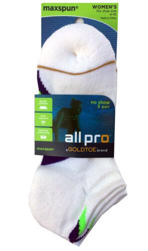 "GOLDTOE ALLPRO WOMEN/'S NO SHOW SOCKS 3-Pair  /"" MAXSPUN /"" COOL /& MESH AIR CHANNEL"