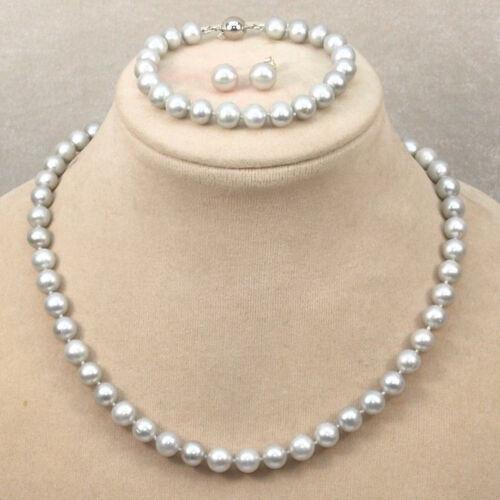 Genuine Natural 7-8mm Gray Freshwater Pearl Necklace Bracelet Earrings PN1577