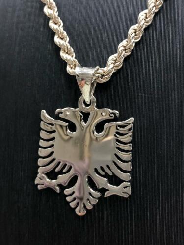 925 Sterlingsilber Massiv Original Albanischer Adler Tag Anhänger Seil