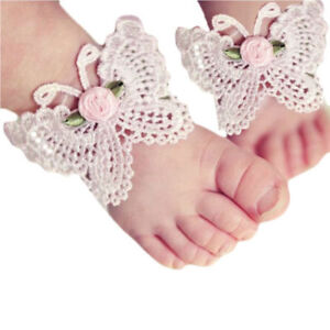Baby /& Girl/'s Violet purple crystals Butterfly Barefoot Sandals handcrafted 1 pr