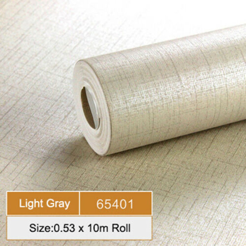 Gray Vinyl Plain Flax Textured Wallpaper Modern 10M Living Room Bedroom 3D Decor
